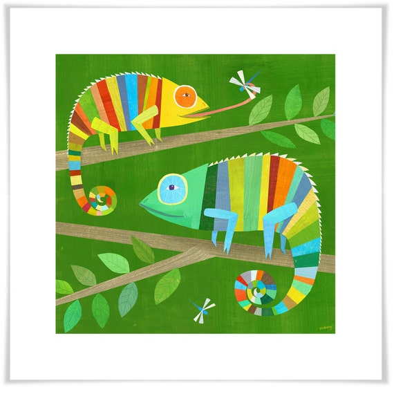 Striped Chameleons, Giclee Art Print, Boys Room Decor