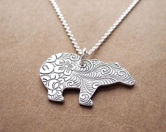 Silver Polar Bear Necklace, Fine Silver Flowered Polar Bear, Sterling Silver Chain, Made To Order