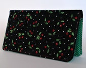 Checkbook Cover, Rockabilly, Cherries, Money, Gift For Her, Checkbook Holder, Gift Under 15, Fabric, Retro