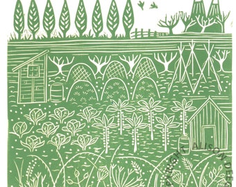 DOWN THE ALLOTMENT (iv) lino print lino cut shed vegetable beans cabbages oast