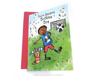 Football Birthday Boy Card, Multicultural Cards, African American Cards, Black Boy, Asian Boy, Footbal Fan, Birthday Card for Boys, For Boys