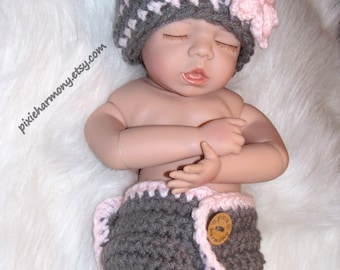 Baby Girl Diaper Cover and Hat w Flower Set - Soft Gray and Pink Newborn - ANY Colors - Photo Prop - Reborn Doll - Made to Order
