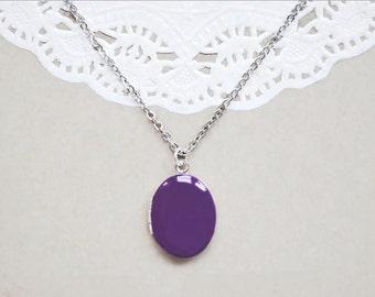 Deep Purple Enamel Photo Locket - Keepsake Necklace
