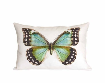 Coastal Butterfly Pillow - 12x20 14x20 14x26 16x24 16x26 18x26 Inch Rectangle Pillow - Beach House Decor - Oblong Linen Cotton Cushion Cover