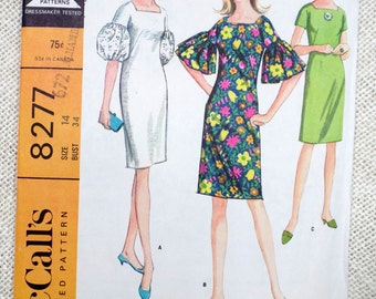 Vintage pattern Simplicity 8277 dress puff angel sleeves Bust 34 1960s sack shift gathered Mod groovy square neck