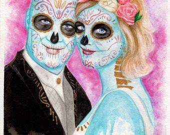 Custom Portrait Day of the Dead - Dia de los Muertos Sugar Skull