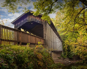 Ada Wooden Covered Bridge over the Thornapple River in Autumn in West Michigan No.0075 -  A Fine Art Fall Landscape Photograph