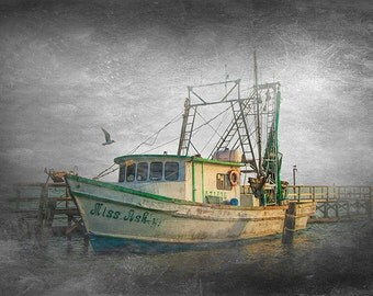 Fishing Boat Miss Ash with Gull at Sunrise at the Aransas Pass Harbor in Texas on the Gulf of Mexico No.0725tx A Seascape Photograph