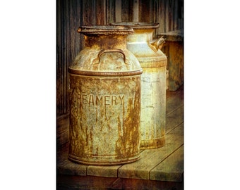 Old Vintage Creamery Milk Cans in Historical 1880 Town Western Museum in South Dakota No.3098_2OL A Vertical Fine Art Still Life Photograph