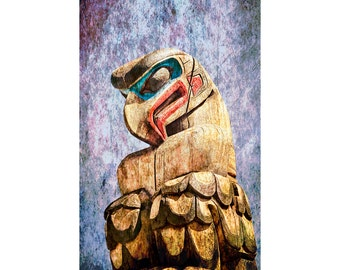 Totem Pole Head with Texture Overlay on Vancouver Island in British Columbia Canada in the Pacific Northwest No.1400OL A Fine Art Photograph