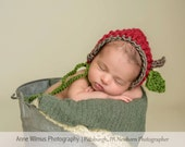 apple  bonnet... apple hat..knit hat... fall hat..photography prop... photo prop..Newborn photo prop..20% off with code VALEN1 at checkout