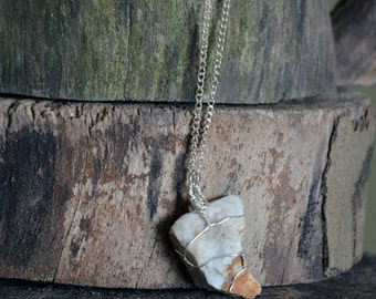 White and Orange Wire Wrapped Rock Necklace