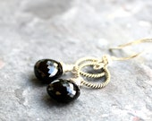 Black Spinel Earrings Sterling Silver Black Jewelry Rope Circle Dangle earrings