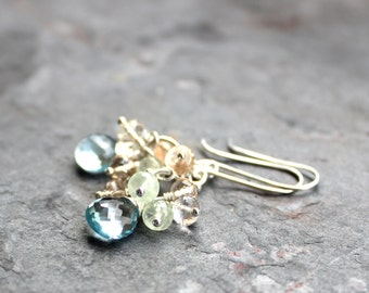 Blue Topaz Earrings Cluster Sunstone Prehnite Sterling SIlver Summer Multi Gemstone Earrings