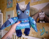 Deal of the day Bjorn  Owl , soft art  creature  toy by  Wassupbrothers,nursery  recycled ,stuffed textile friend, blue azzuro, flowered