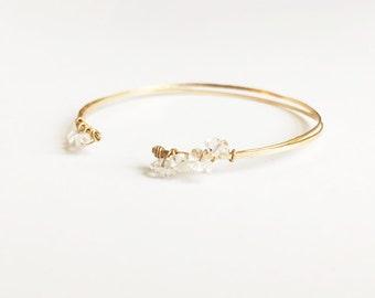 14 Karat Herkimer Diamond Bangle Gold Filled Bracelet Dainty Stone Faceted Gem Quartz Crystal Grade AAA