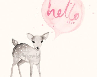 Baby Girl Nursery Decor 'Hello Deer' Print 8x10 / A4 - Light Pink Shabby Chic Nursery Decor, Woodland Nursery Watercolour Illustration
