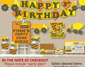 Construction Party, Construction Invitations, Construction Birthday, Dump Truck Party  - Decorations, Package, Banner, Cake Topper, Cupcake