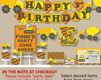 Construction Birthday Party Decorations - Package, Invitations, Banner, Cake Topper, Cupcake, Favor Tags