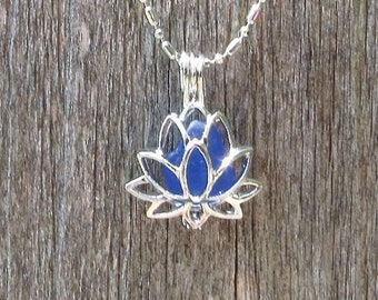 Deep Blue Sea Glass Lotus Locket Necklace by WaveofLife™