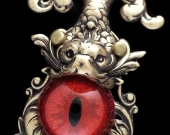Gothic Koi Fish Necklace Sightmares Eye Red Glitter Eye in Ox Brass Plated Brass by Dr Brassy Steampunk