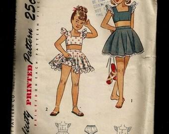Vintage 1940s Girls Play Suit Ruffled Skirt Dirndl Skirt Bloomer Panties ADORABLE