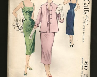 Classic 50s UNcut Pattern Factory Folds McCalls  3219 SLEEVELESS Slim Skirt Dress & Jacket Pencil Skirt Dress Vintage 1950s Party Dress