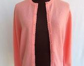 Vintage 60s Cardigan Sweater in Pastel Coral Peach Orange Textured Nylon  Size M / L