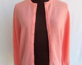 Vintage 60s Cardigan Sweater in Pastel Coral Peach Orange Textured Nylon  Size M / L
