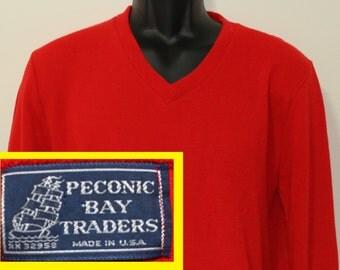 Peconic Bay Traders vintage red v-neck sweater Large/Medium soft