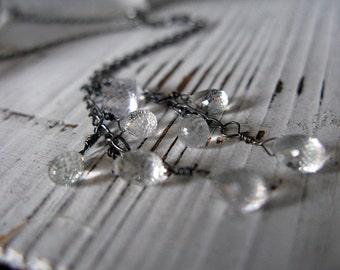 White Sapphire Lariat Necklace Unique Necklace Boho Necklace White Gemstone Necklace Black White Necklace Gift Necklace Artisan Unique