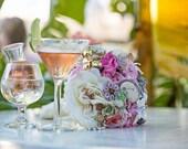 Custom Brooch Bouquet Beach Wedding   Medium Floral Bridal Bouquet   Destination Wedding   Romantic Blush Pink Silk Flowers, Enamel Brooches