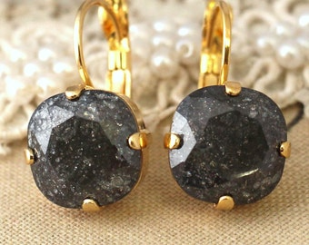Black Earrings,Gray Earrings,Black Crystal Earrings,Black Drop Earrings,Dangle Heartstrings for her,Christmas Gift,Gold Black Earrings