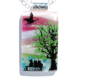 Dichroic Fused Glass Pendant, Fused Glass Jewelry, Image Pendant, Nature, Outdoors, Kittens, Tree, Scenic, Early Dawn (Item 10693-P)