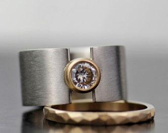wedding band set, wedding ring set, men's wedding ring, women's wedding ring or engagement ring, wide wedding band, palladium and gold ring