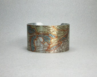 Great Lakes Map Cuff Bracelet Unique Gift for Men or Women