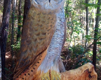 Personalized Owl Sign 4ft chainsaw wooden owl carving lettering MADE TO ORDER great for restaurant house numbers family name plaque