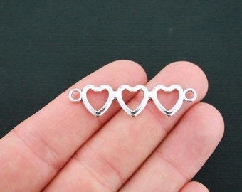 6 Heart Connector Charms Antique Silver Tone Triple Hearts- SC4548