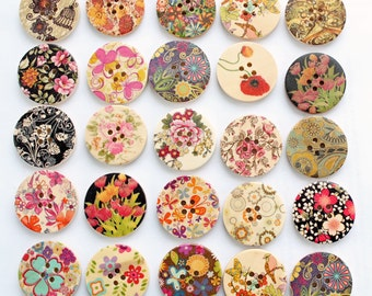50 Painted Wood Buttons Extra Large Floral Designs Assorted - BUT172