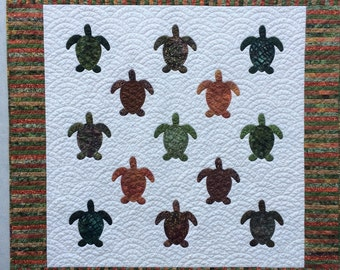 "Green and Rust Hand Appliqued Sea Turtle Lap Quilt or Wall Hanging 45""x 46"""