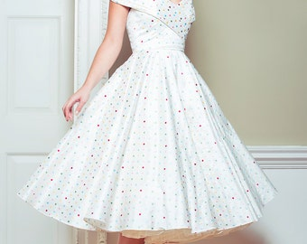 Louella - off the shoulder multi coloured polkadot silk wedding dress