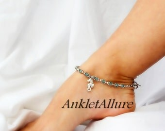 Beachy Feet Seahorse Anklet Cruise Ankle Bracelet Blue Silver Anklet Bracelet Body Jewelry Foot Jewelry