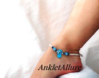Beach Anklet Blue Flip Flop Anklet Summer Sandal Anklet Crystal Blue Ankle Bracelet