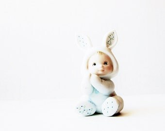 1984 Enesco Holly Babes Collectible Figurine - RARE Morehead Blue Bunny - Gift Idea For New Mom Grandma Mothers Day Baby Shower Easter