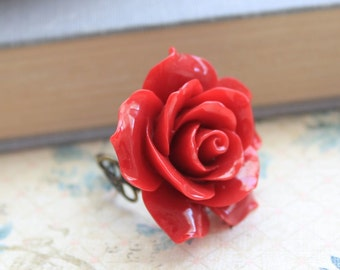 Big Red Rose Ring Adjustable Filigree Ring Crimson Red Flower Cocktail Ring Romantic Jewelry Christmas Gift Holiday Party Valentines Day