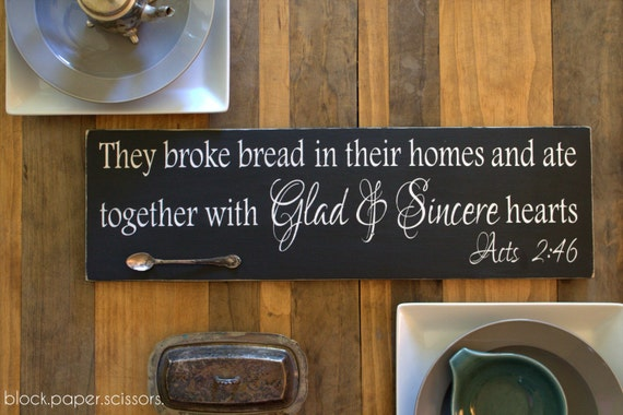 Acts 2:46 Glad and Sincere Hearts Painted Wood Sign, Scripture Quote, Bible Sign, Dining Room Decor, Christian Home Decor