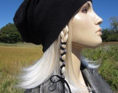 Cashmere Beanie Basic Black Slouchy Beanie Hat Cotton Blend Women's Hat Closed or Leather Tie Back Tam A49