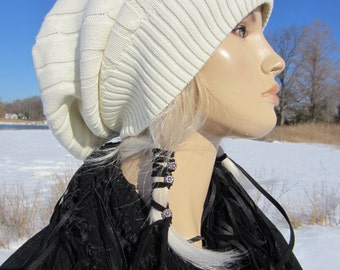Big Slouch Hat Beanie White Ivory Thick Cotton Cable Knit Tam Designer: Vacationhouse A1034