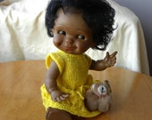 """Black Baby Doll - 12"""" Jointed Doll - 1980's Toy"""
