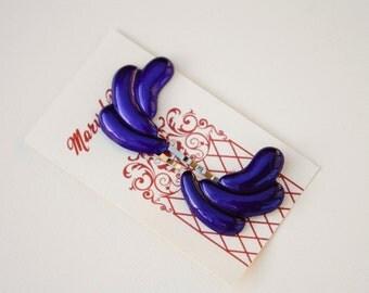 Vintage Purple Hair Pins - Fan, Swoop, Repurposed
